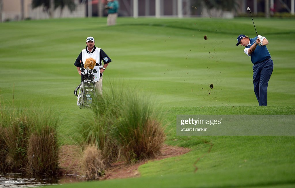 Ernie Els of South Africa plays his approach shot on the 18th hole during the second round of the Honda Classic on March 1, 2013 in Palm Beach Gardens, Florida.