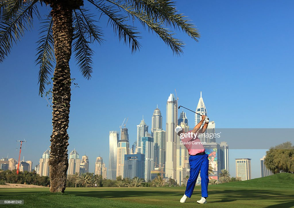 Ernie Els of South Africa plays his second shot at the par 5, 13th hole during the second round of the 2016 Omega Dubai Desert Classic on the Majlis Course at the Emirates Golf Club on February 5, 2016 in Dubai, United Arab Emirates.