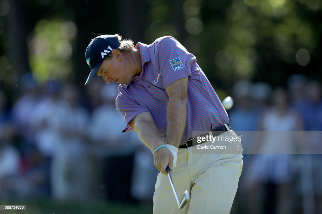 Ernie Els of South Africa plays his second shot on the par 4, 15th hole during the second round of the 2017 BMW PGA Championship on the West Course at Wentworth on May 26, 2017 in Virginia Water, England.