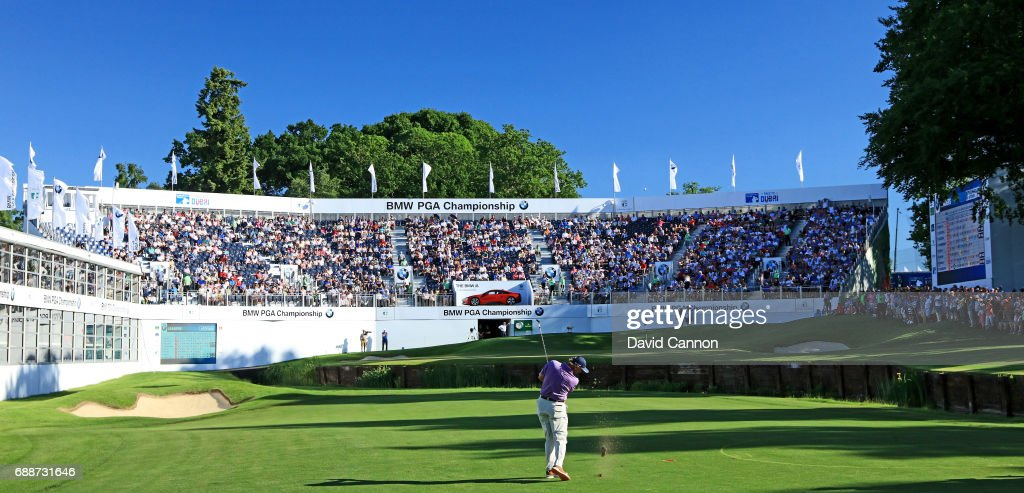 Ernie Els of South Africa plays his third shot on the par 5, 18th hole during the second round of the 2017 BMW PGA Championship on the West Course at Wentworth on May 26, 2017 in Virginia Water, England.