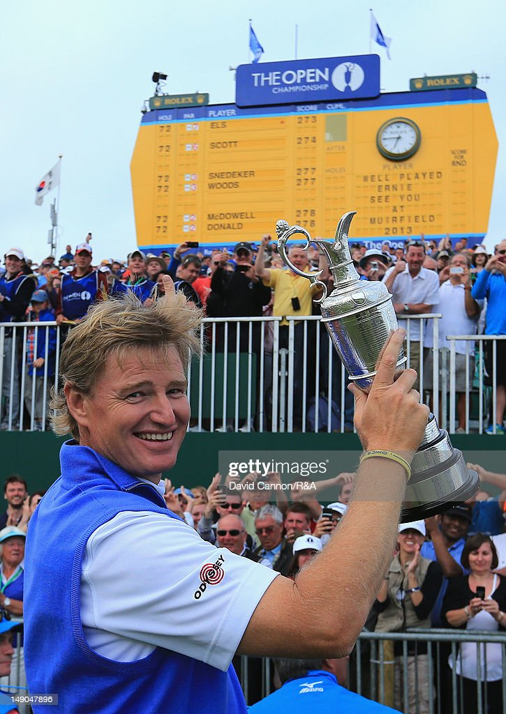 <a gi-track='captionPersonalityLinkClicked' href=/galleries/search?phrase=Ernie+Els&family=editorial&specificpeople=162688 ng-click='$event.stopPropagation()'>Ernie Els</a> of South Africa poses with the Claret Jug following his victory during the final round of the 141st Open Championship at Royal Lytham & St. Annes Golf Club on July 22, 2012 in Lytham St Annes, England.