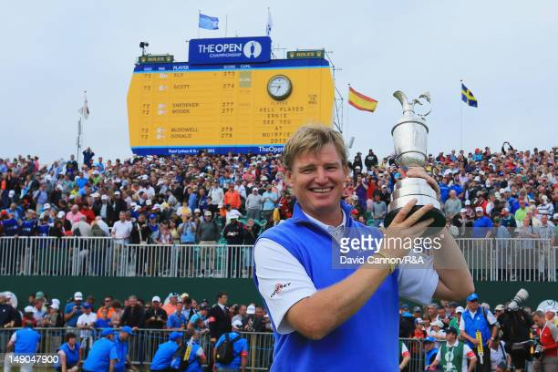 Ernie Els of South Africa poses with the Claret Jug following his victory during the final round of the 141st Open Championship at Royal Lytham St...