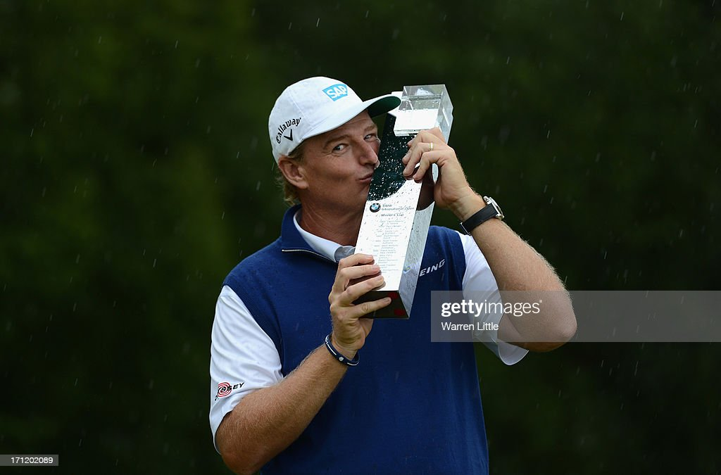 Ernie Els of South Africa poses with the trophy after winning the BMW International Open at Golfclub Munchen Eichenried on a score of -18 under par on June 23, 2013 in Munich, Germany.