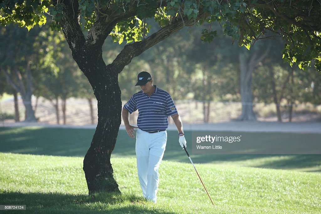 Ernie Els of South Africa prepares to play from under a tree, his second shot on the 16th hole during the third round of the Omega Dubai Desert Classic at the Emirates Golf Club on February 6, 2016 in Dubai, United Arab Emirates.