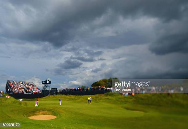 Ernie Els of South Africa putts on the 17th green during the third round of the 146th Open Championship at Royal Birkdale on July 22 2017 in...