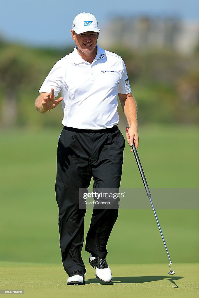 <a gi-track='captionPersonalityLinkClicked' href=/galleries/search?phrase=Ernie+Els&family=editorial&specificpeople=162688 ng-click='$event.stopPropagation()'>Ernie Els</a> of South Africa reacts as he walks onto the green during Round One of the 94th PGA Championship at the Ocean Course on August 9, 2012 in Kiawah Island, South Carolina.