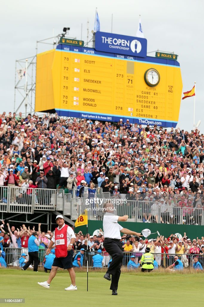 Ernie Els of South Africa reacts to a birdie putt on the 18th green during the final round of the 141st Open Championship at Royal Lytham & St. Annes Golf Club on July 22, 2012 in Lytham St Annes, England.