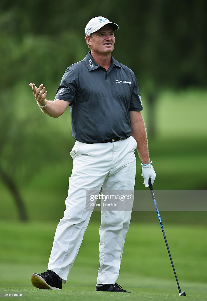 <a gi-track='captionPersonalityLinkClicked' href=/galleries/search?phrase=Ernie+Els&family=editorial&specificpeople=162688 ng-click='$event.stopPropagation()'>Ernie Els</a> of South Africa reacts to a shot during the second round of the South African Open at Glendower Golf Club on January 9, 2015 in Johannesburg, South Africa.