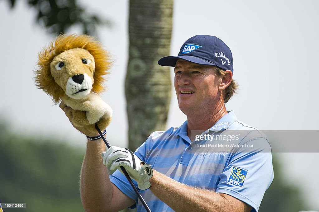 <a gi-track='captionPersonalityLinkClicked' href=/galleries/search?phrase=Ernie+Els&family=editorial&specificpeople=162688 ng-click='$event.stopPropagation()'>Ernie Els</a> of South Africa removes the head cover off of his driver on the 3rd hole during round four of the Venetian Macau Open on October 20, 2013 at the Macau Golf & Country Club in Macau. The Asian Tour tournament offers a record US$ 800,000 prize money which goes through October 20.