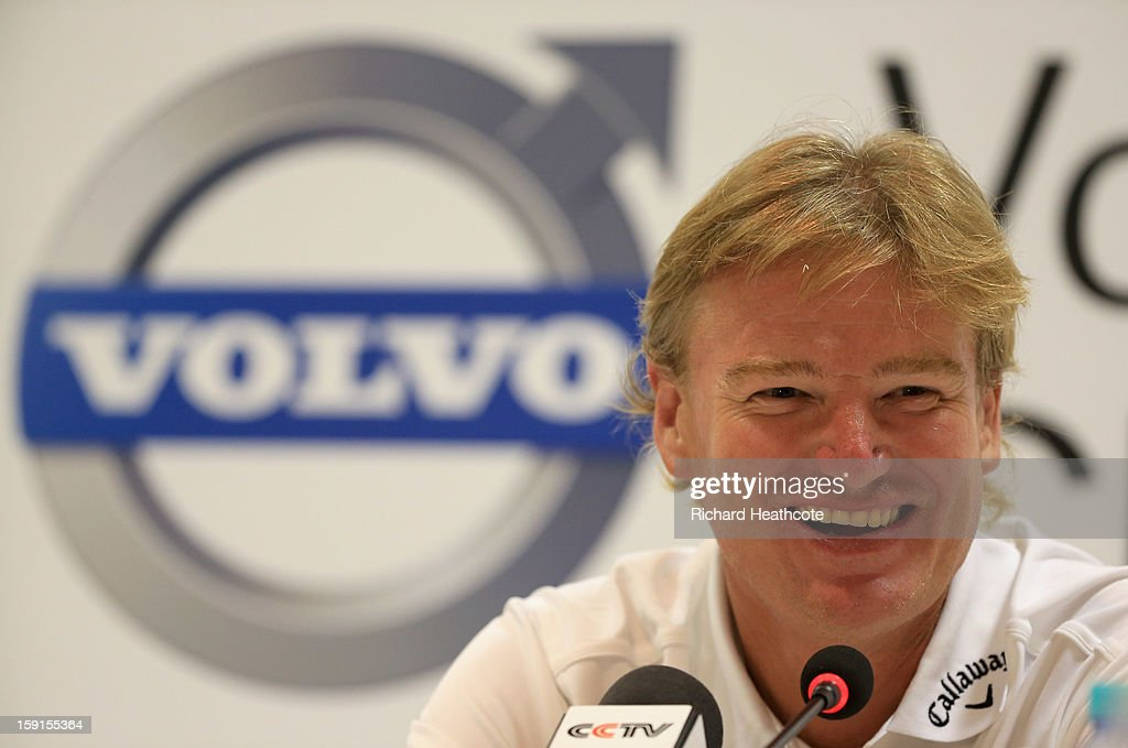 Ernie Els of South Africa speaks to the media during a press conference for the Volvo Champions at Durban Country Club on January 9, 2013 in Durban, South Africa.