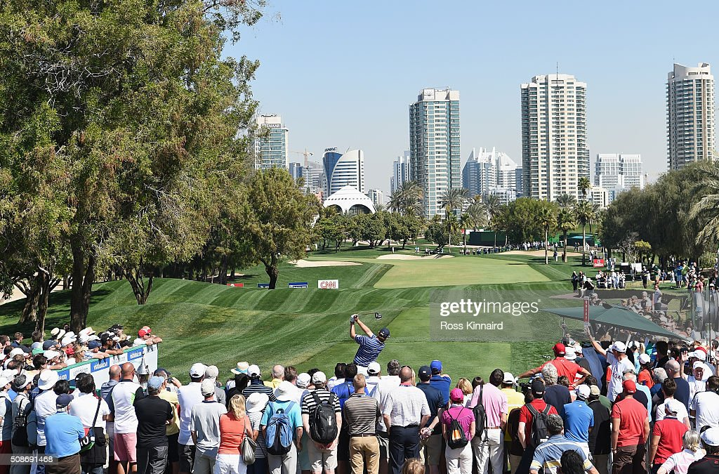 <a gi-track='captionPersonalityLinkClicked' href=/galleries/search?phrase=Ernie+Els&family=editorial&specificpeople=162688 ng-click='$event.stopPropagation()'>Ernie Els</a> of South Africa tees off on the 1st hole during the third round of the Omega Dubai Desert Classic at the Emirates Golf Club on February 6, 2016 in Dubai, United Arab Emirates.