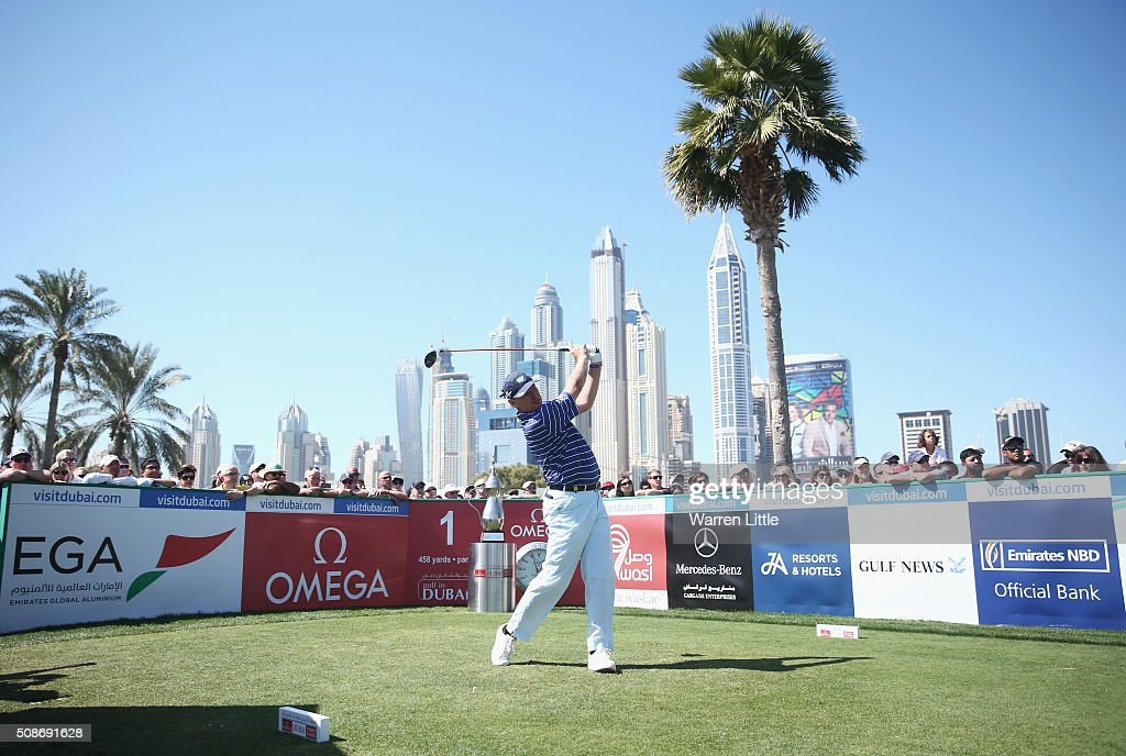 Ernie Els of South Africa tees off on the 1st hole during the third round of the Omega Dubai Desert Classic at the Emirates Golf Club on February 6, 2016 in Dubai, United Arab Emirates.