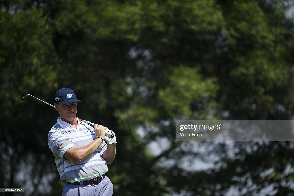 Ernie Els of South Africa tees off on the 6th hole during day three of the Venetian Macau Open at Macau Golf and Country Club on October 19, 2013 in Macau, Macau.
