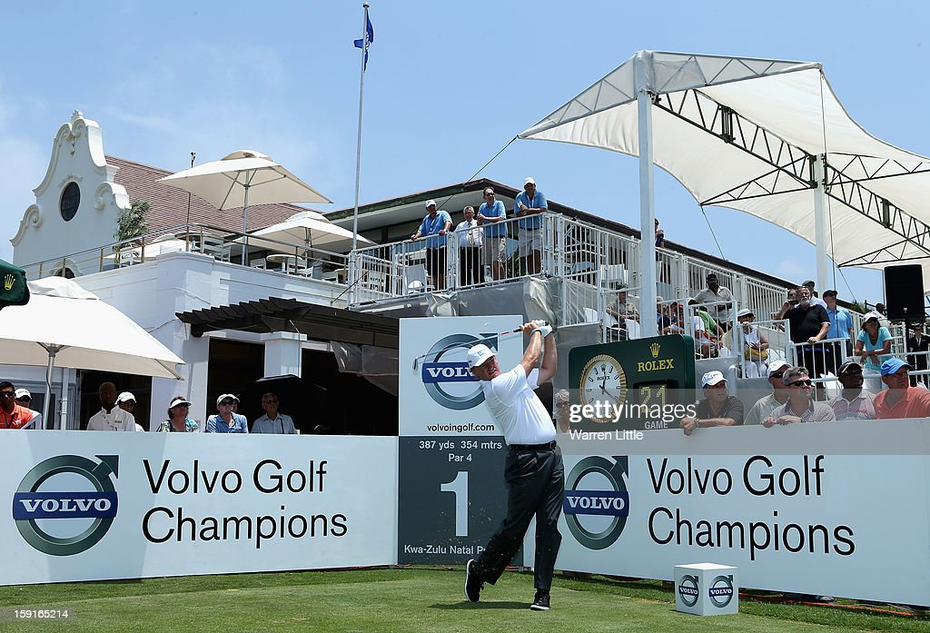 Ernie Els of South Africa tees off on the first hole during the Pro-Am for the Volvo Golf Champions at Durban Country Club on January 9, 2013 in Durban, South Africa.