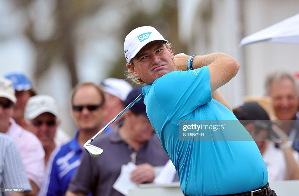 Ernie Els of South Africa tees off on the first hole during the third round of the The Volvo Champions in Durban on January 12 ,2013.