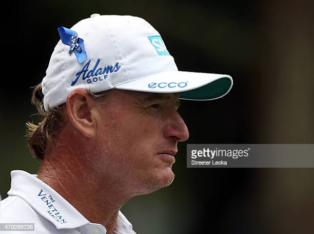 Ernie Els of South Africa wears a blue ribbon on his hat for Els for Autism on the ninth hole during the second round of the RBC Heritage at Harbour...