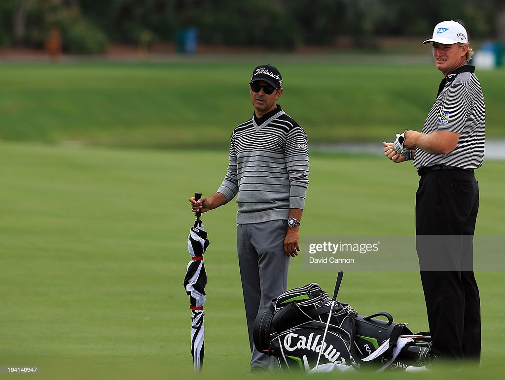 <a gi-track='captionPersonalityLinkClicked' href=/galleries/search?phrase=Ernie+Els&family=editorial&specificpeople=162688 ng-click='$event.stopPropagation()'>Ernie Els</a> of South Africa with his coach <a gi-track='captionPersonalityLinkClicked' href=/galleries/search?phrase=Claude+Harmon+III&family=editorial&specificpeople=5679877 ng-click='$event.stopPropagation()'>Claude Harmon III</a> during the pro-am for the 2013 Arnold Palmer Invitational Presented by Mastercard at Bay Hill Golf and Country Club on March 20, 2013 in Orlando, Florida.