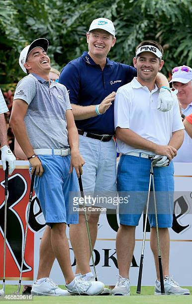 Ernie Els of South Africa with Rickie Fowler and Louis Oosthuizen enjoying watching the other attempts during the $2 Million Kettle One Vodka...