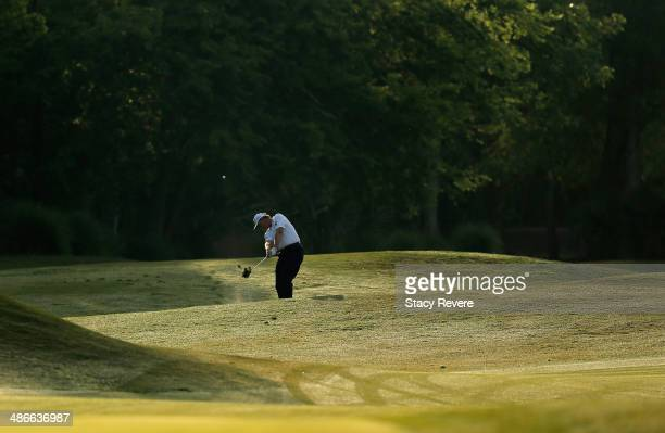 Ernie Els takes his shot on the 10th during Round Two of the Zurich Classic of New Orleans at TPC Louisiana on April 25 2014 in Avondale Louisiana