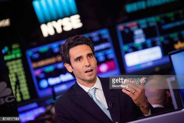 Ernie Garcia founder and chief executive officer of Carvana Co speaks during an interview for the company's initial public offering on the floor of...