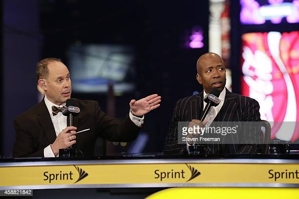 Ernie Johnson and Kenny Smith and Shaquille O'Neal of 'Inside the NBA' speak at the TNT tip off event at Times Square Offices on October 27 2014 in...