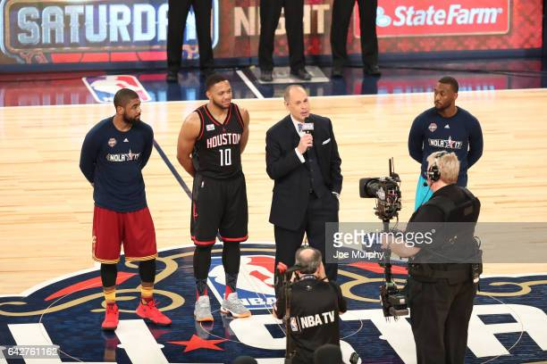 Ernie Johnson leads the Sager Strong shoot out during the JBL ThreePoint Contest during State Farm AllStar Saturday Night as part of the 2017 NBA...