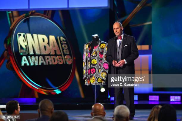 Ernie Johnson speaks on the Sager Strong award during the 2017 NBA Awards Show on June 26 2017 at Basketball City in New York City NOTE TO USER User...