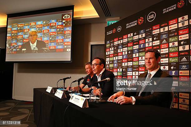 Ernie Merrick Phoenix coach Rob Morrison Wellington Phoenix chairman and David Dome general manager speak to the media during a Wellington Phoenix...