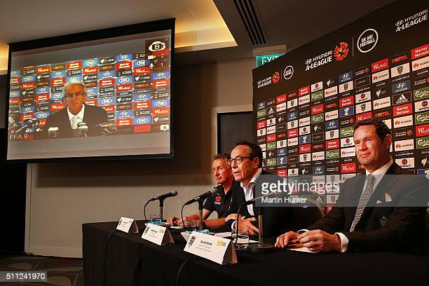 Ernie Merrick Phoenix coach Rob Morrison Wellington Phoenix chairman and David Dome Phoenix general manager speak to the media during a Wellington...