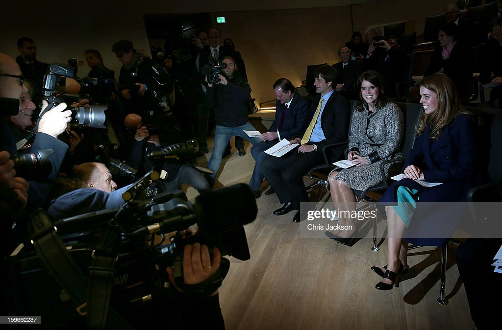 Ernst August of Hanover (L), Princess Beatrice (R) and Princess Eugenie are photographed and filmed at the Opening Ceremony of Palace Herrenhausen on January 18, 2013 in Hanover, Germany. The royal sisters are in Hanover on the second day of a two day visit to Germany. Yesterday the royals were in Berlin helping support GREAT, the British Government's initiative promoting the UK abroad.