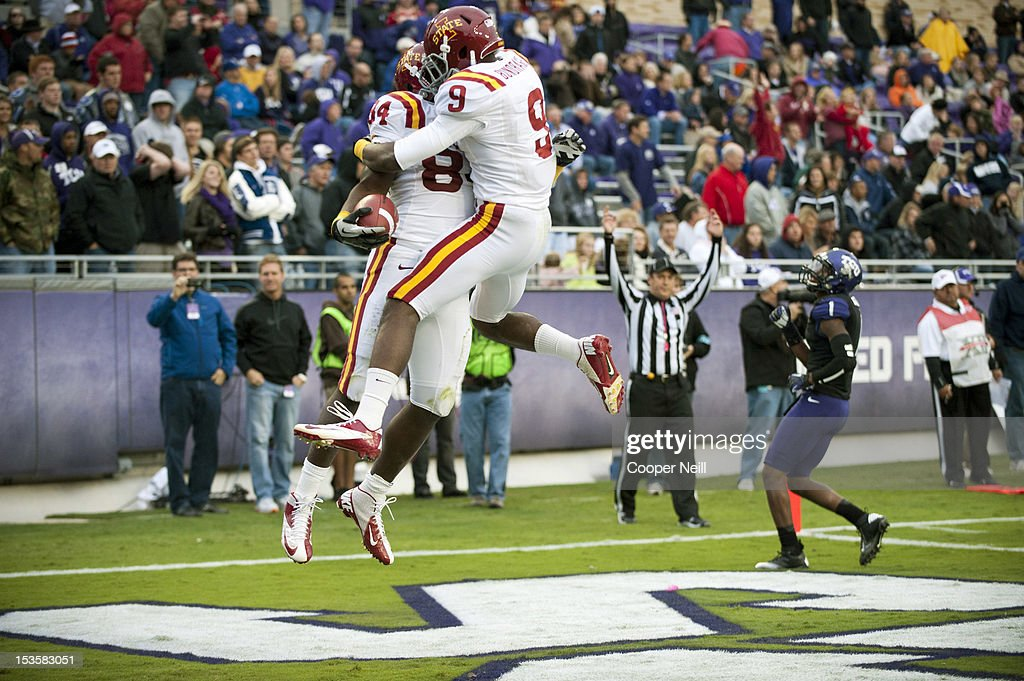 Ernst Brun #84 of the Iowa State Cyclones celebrates a touchdown with teammate Quenton Bundrage #9 during the Big 12 Conference game against the TCU Horned Frogs on October 6, 2012 at Amon G. Carter Stadium in Fort Worth, Texas.