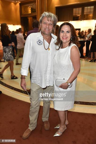 Ernst Hannawald and his wife Maria Hannawald during the exibition 'American Jazz Heroes' at Hotel Bayerischer Hof on July 18 2017 in Munich Germany