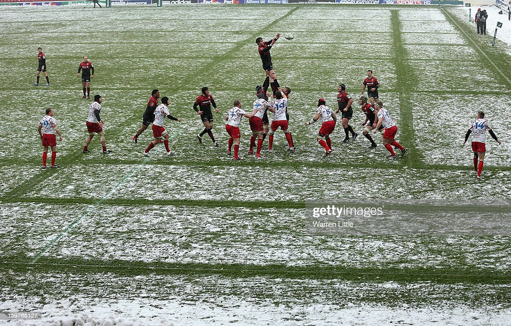 Ernst Joubert of Saracens cwins the line out during the Heineken Cup match between Saracens and Edinburgh Rugby at Vicarage Road on January 20, 2013 in Watford, England.