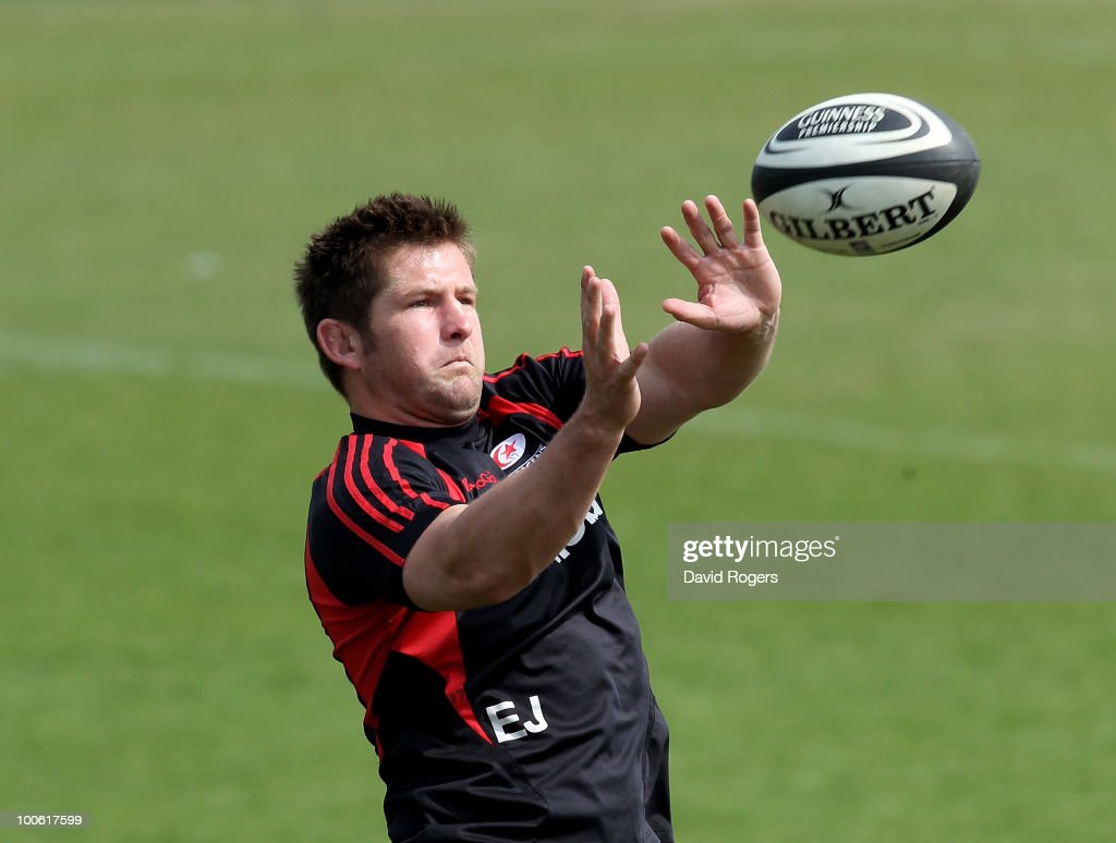 Ernst Joubert, the Saracens captain catches the ball during the Saracens training session on May 25, 2010 in St Albans, England.