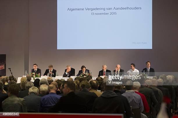 Ernst Ligthart Theo van Duivenbode Leo van Wijk Hans Wijers Dolf Collee Jeroen Slop Marc Overmars Edwin van der Sar during the shareholders meeting...