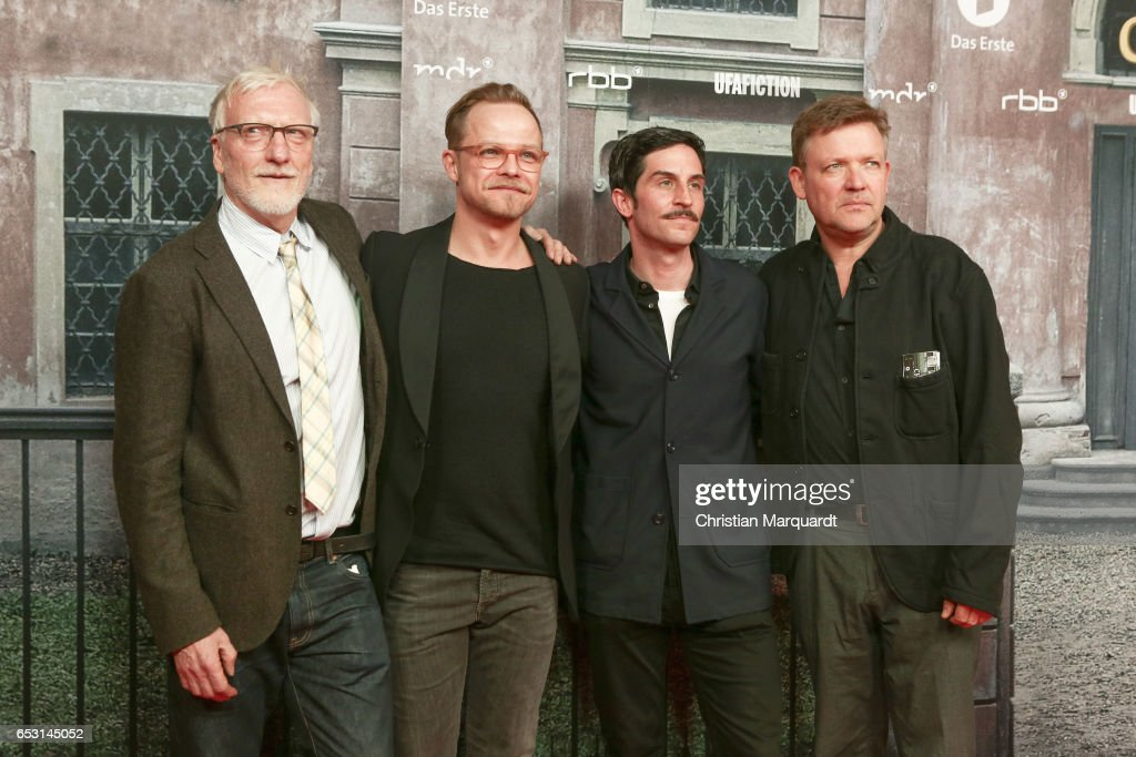 Ernst Stoetzer, Matthias Koeberlin, Christoph Bach and Justus von Dohnanyi , the main cast of the movie, attend the 'Charite' Berlin Premiere at Langenbeck-Virchow-Haus on March 13, 2017 in Berlin, Germany.