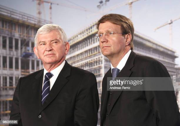 Ernst Uhrlau head of the German intelligence service the BND and Minister of the Chancellery Ronald Pofalla attend the toppingout ceremony of the new...