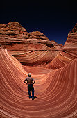 Eroded sandstone formation, The Wave, near the Arizona Utah border, on the slopes of the Coyote Buttes, United States of America, North America