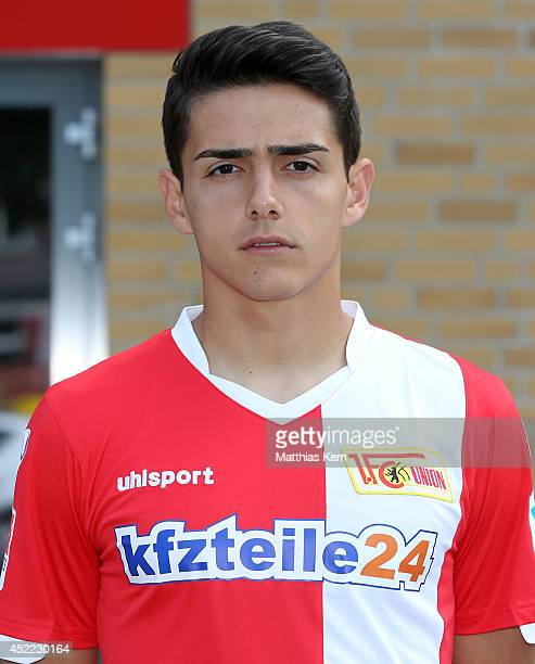 Erol Zejnullahu poses during the 1FC Union Berlin team presentation at Stadion an der Alten Foersterei on July 16 2014 in Berlin Germany