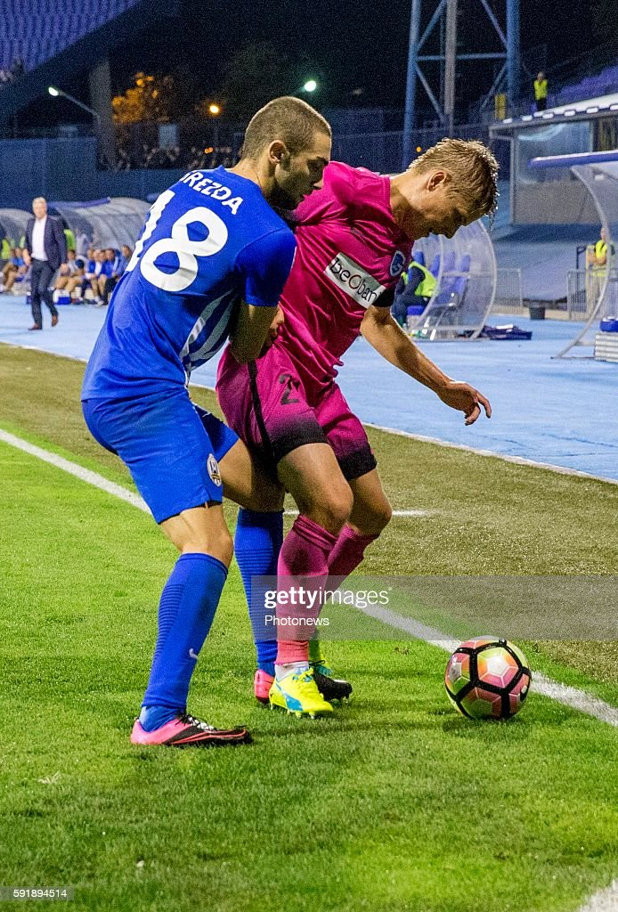 18 Eros Grezda 21 Jerre Uronen defender of Krc Genk during UEFA Europa League play off round 1st Leg match between Lokomotiva Zagreb and KRC Genk on...
