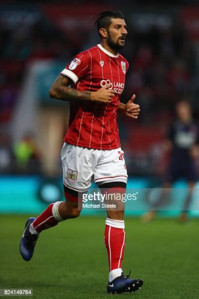 Eros Pisano of Bristol City during the pre season match between Bristol City and FC Twente at Ashton Gate on July 28 2017 in Bristol England