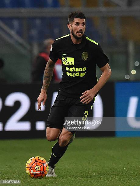 Eros Pisano of Hellas Verona FC in action during the Serie A match between SS Lazio and Hellas Verona FC at Stadio Olimpico on February 11 2016 in...