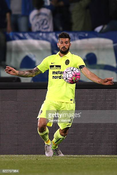 Eros Pisano of Hellas Verona FC in action during the Serie A match between Empoli FC and Hellas Verona FC at Stadio Carlo Castellani on April 20 2016...
