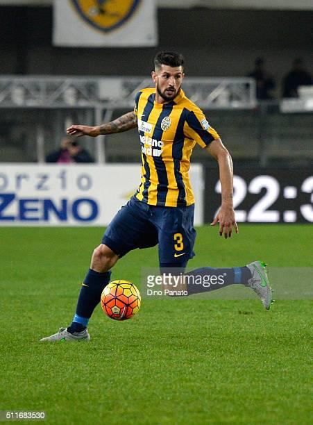 Eros Pisano of Hellas Verona in action during the Serie A match between Hellas Verona FC and AC Chievo Verona at Stadio Marc'Antonio Bentegodi on...