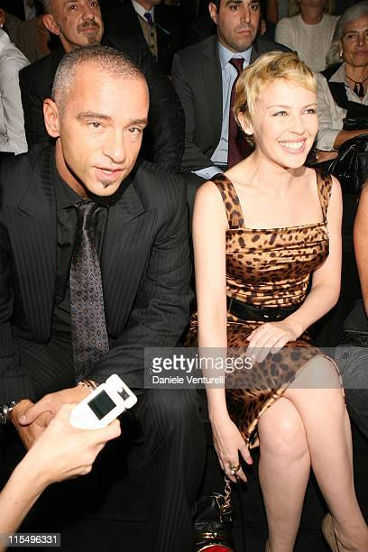 Eros Ramazzotti and Kylie Minogue during Milan Fashion Week Spring/Summer 2007 Dolce Gabbana Front Row and Backstage at Viale Piave 24 in Milan Italy