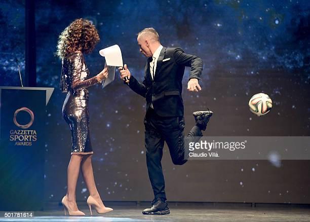 Eros Ramazzotti and Teresa Mannino attend La Gazzetta dello Sport Gala' Event at the Metropol on December 17 2015 in Milan Italy