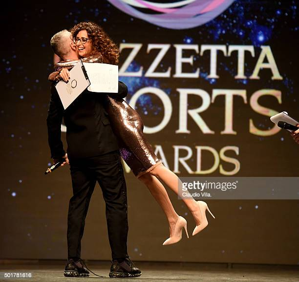 Eros Ramazzotti and Teresa Mannino attend La Gazzetta dello Sport Gala' Event at the Metropol on December 17 2015 in Milan Italy
