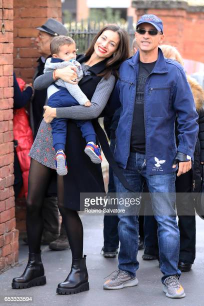 Eros Ramazzotti Marica Pellegrinelli and son Gabrio Tullio are seen on March 14 2017 in Milan Italy