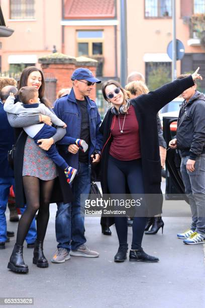 Eros Ramazzotti Marica Pellegrinelli Aurora Ramazzotti and Gabrio Tullio are seen on March 14 2017 in Milan Italy