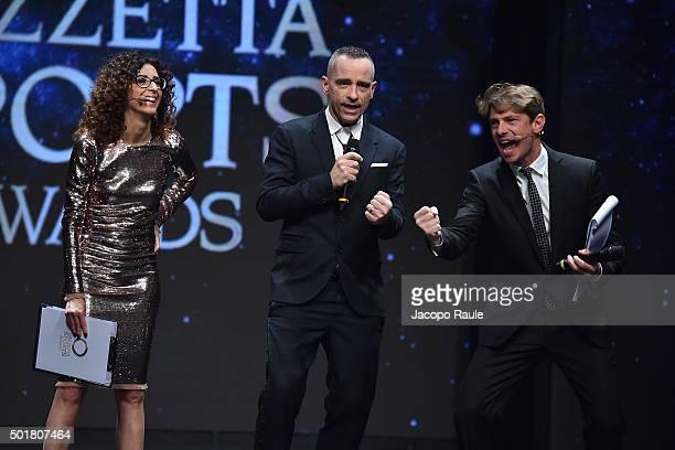 Eros Ramazzotti Teresa Mannino and Giorgio Pasotti attend the 'Gazzetta Awards' on December 17 2015 in Milan Italy